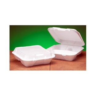 Containers-Foam-Hinged-White-3 compartment-Large-100pk