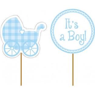 Cupcake Pick - Baby Boy Gingham