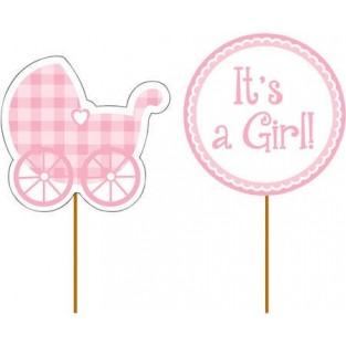 Cupcake Pick - Baby Girl Gingham