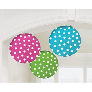 Lantern - 3pk - Polka Dots Assorted