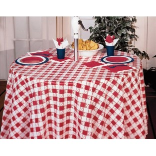 Tablecloth-Plastic-Round -Gingham-Red-82""