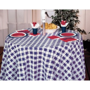Tablecloth-Plastic-Round-Gingham-Blue-82""