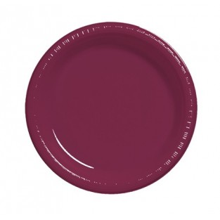 Plate-Plastic-Burgundy-9 inch-20 count