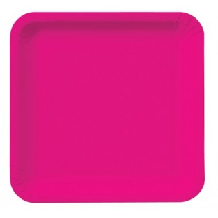 Plate-Paper-Hot Magenta-9 inch-Square-18 count