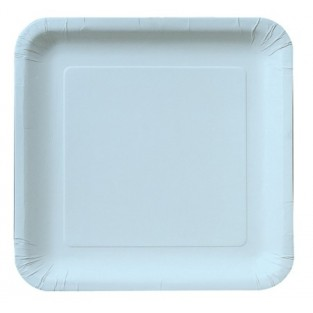 Plate-Paper-Pastel Blue-Square-9 inch-18 count