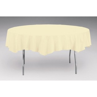 Tablecover-Plastic-Ivory-Round-82 inch