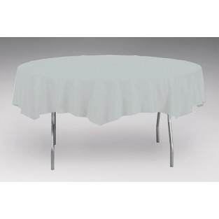 Tablecover-Plastic-Shimmering Silver-Round-82 inch
