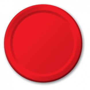 Plate-Paper-Classic Red-7 inch-24 count