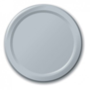 Plate-Paper-Shimmering Silver-7 inch-24 count