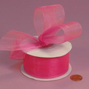 Ribbon - Sheer - 1.25inx25yd - Hot Pink