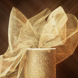 Ribbon - Tulle - 6inx25yd - Gold Sparkle