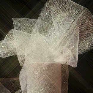 Ribbon - Tulle - 6inx25yd - Silver Sparkle
