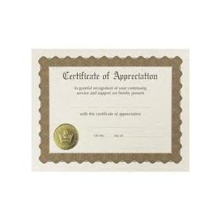 Certificate - Appreciation - 8.5x11 - 6 ct