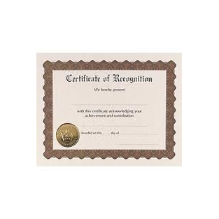 Certificate - Recognition - 8.5x11 - 6 ct