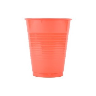 Cup - Plastic - Coral - 16 ounce - 20 count