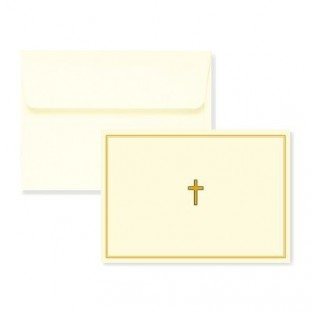 Note Card - Gold Cross - 14 count